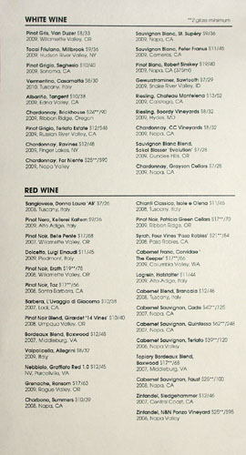 Graffiato Wine List