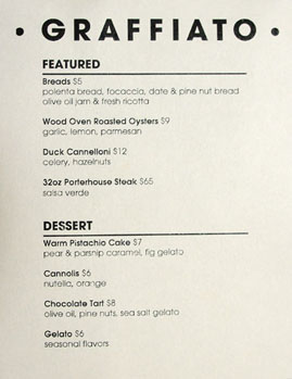 Graffiato Specials & Dessert Menu