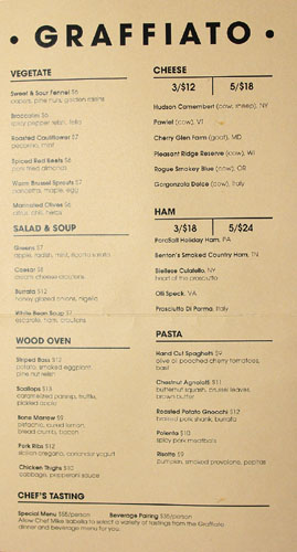 Graffiato Menu