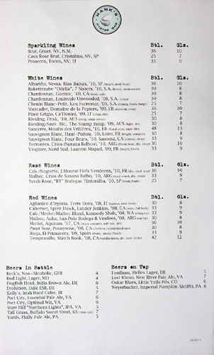 Hank's Oyster Bar Beverage Menu