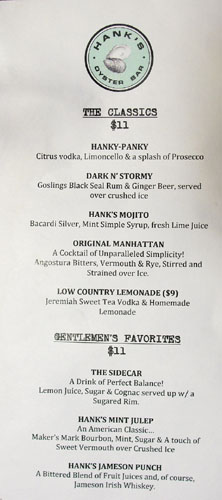 Hank's Oyster Bar Cocktail List