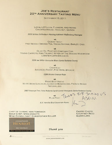 Joe's 20th Anniversary Tasting Menu