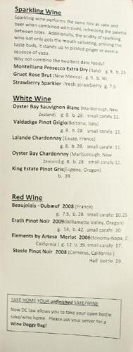 Kaz Sushi Bistro Wine List