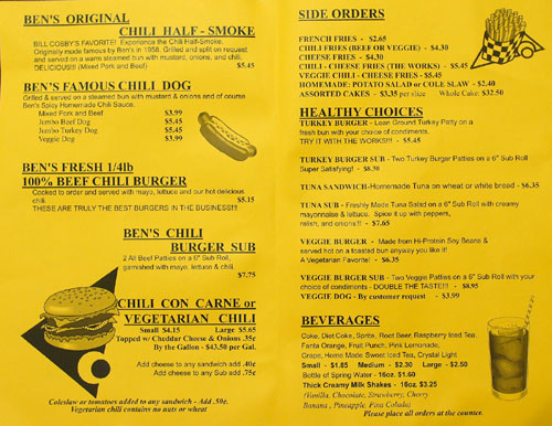 Ben's Chili Bowl Menu