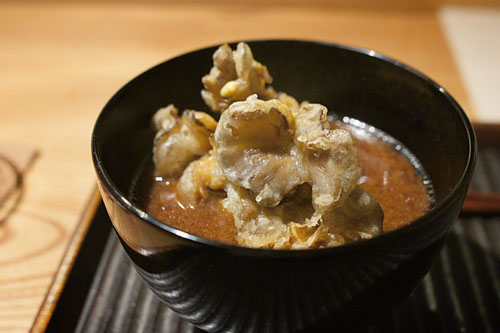 Red Miso Soup with Maitake Mushroom Tempura and Japanese Eggplant