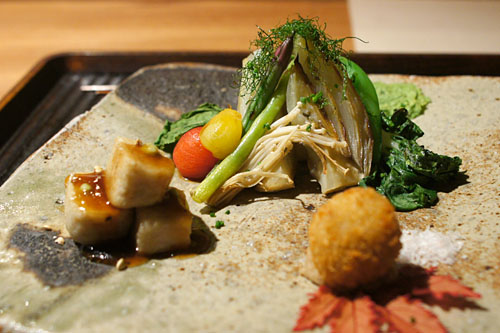 Assortment of Grilled Vegetables with Smoked Soy Sauce / Matsutake Mushroom Croquet / Grilled Awa-Fu with Sweet Soy Sauce