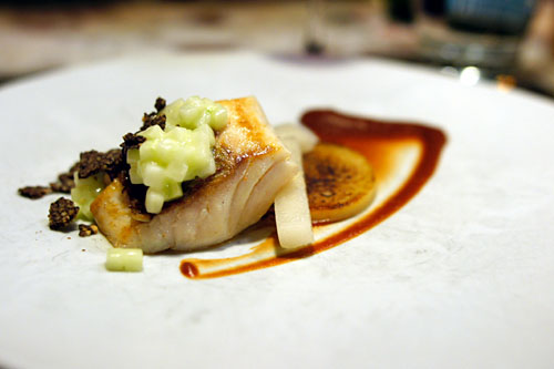 Tai snapper, onion tart, coffee, asian pear