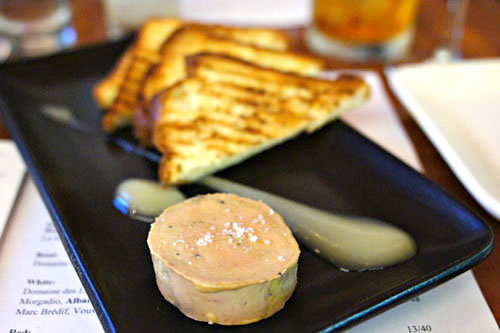 Foie gras torchon, apple puree, and toasted brioche