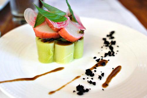 Scallop poached in Beet, Leek Salad, & crunchy black olives