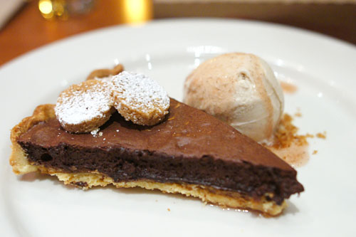 Chocolate Nougatine Tart, black walnut gelato, shortbread, agrodolce