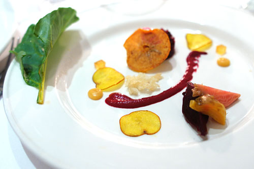 Textures of Beets and Persimmons, Crispy Rice