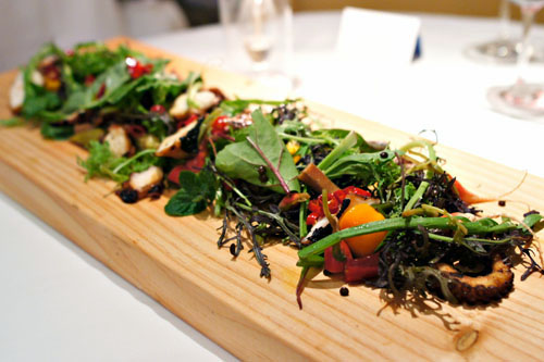 Harissa Octopus, Kefir Lentils, Pickled Root Vegetables, Charred Arugula, Spicy Micro Greens