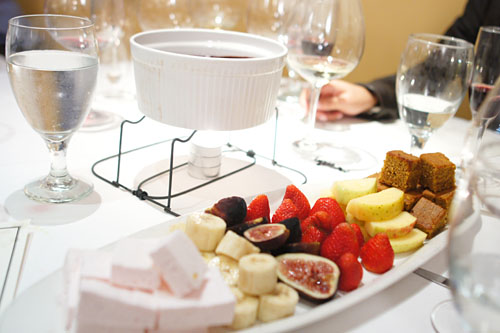 Chocolate Fondue, Housemade Marshmallow, Assorted Fruits