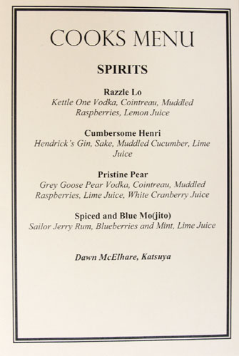 Cooks Menu Cocktail List