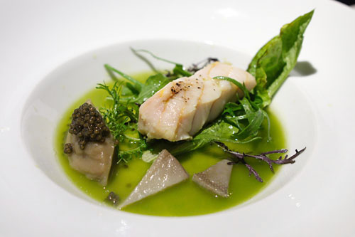 Columbia River sturgeon | artichoke, salted crust baked sturgeon fillet, caviar-artichoke, wilted greens, vegetable 'green tea'