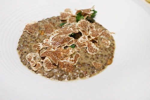 Lentils | white truffle, green lentils 'du Puy', ragoutté, apple juice and pumpkin seeds, Piemonte shaved white truffle
