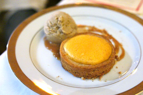 NOVEMBER PIE SWEET POTATO SOUFFLE with walnut crust, toasted marshmallow ice cream