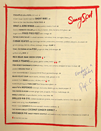Sunny Spot Menu