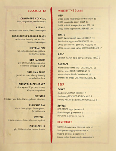 Sunny Spot Drink Menu