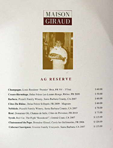 Maison Giraud Wine List