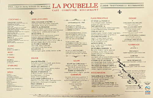 La Poubelle Dinner Menu