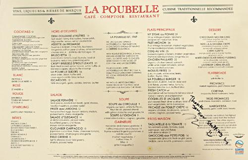 La Poubelle Dinner Menu