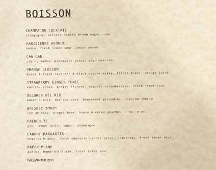 La Poubelle Cocktail List