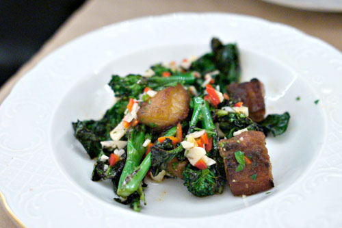 sprouting broccoli, pork cheek, chili vinaigrette