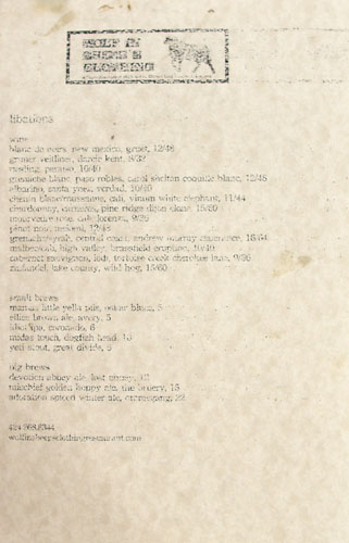 Wolf in Sheep's Clothing Libations List