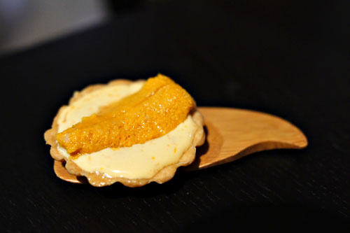 uni tart. ginger. lime. uni sauce.