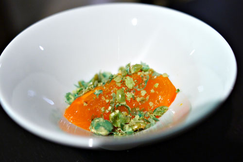 persimmon. wasabi peas.