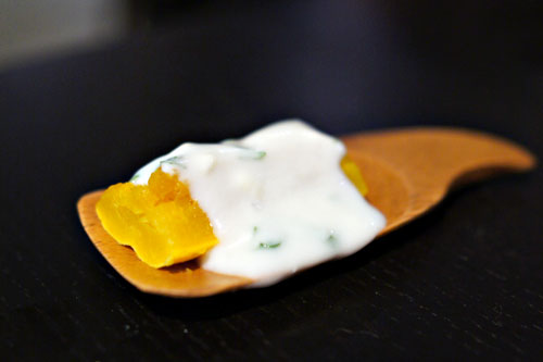 delicata squash. orange blossom. mint. yogurt.