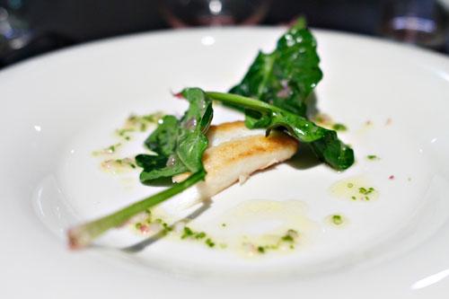 fluke. spinach. vinaigrette. shallot. chive.