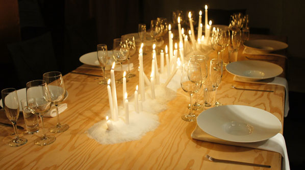 Candles on Dining Table