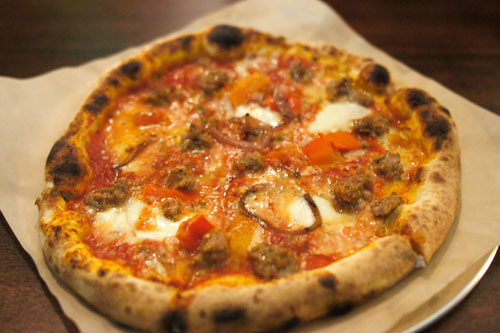 02 House Made Sausage, Fire Roasted Peppers, Grilled Onion, Cheese Blend