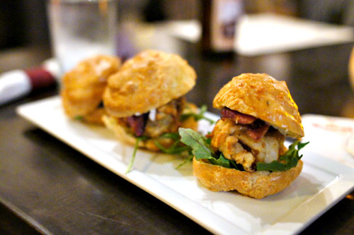 Gougere, slider fried oysters, tartar sauce, bacon & arugula
