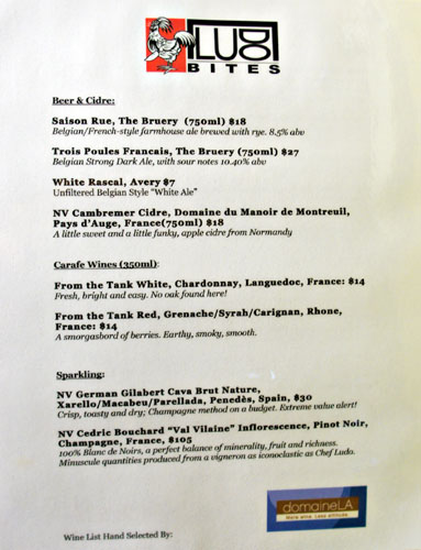 LudoBites 8.0 Wine List