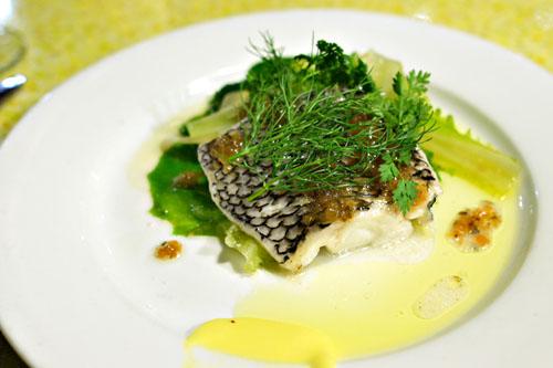 Steamed Black Seabass, Fennel, Lettuce, Bernaise Vinaigrette