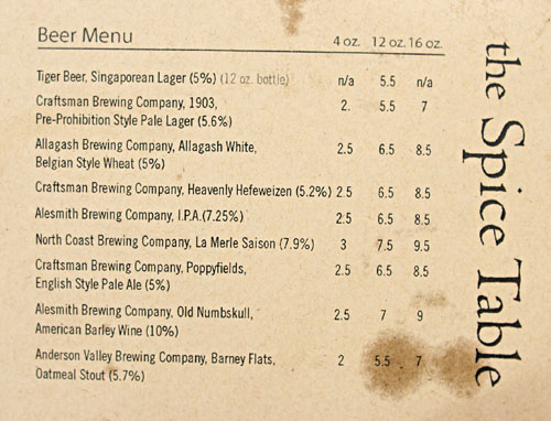 The Spice Table Beer List