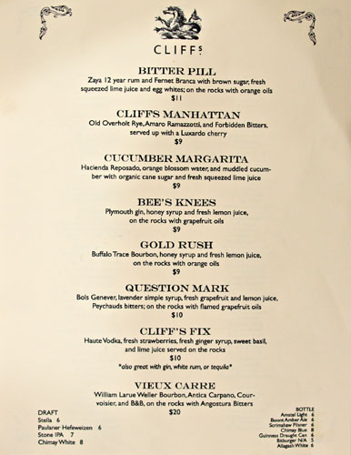 Cliff's Edge Cocktail List