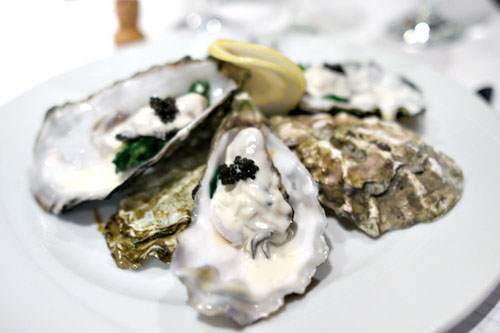 Chilled Champagne Poached Oysters