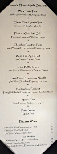Tradition by Pascal Dessert Menu