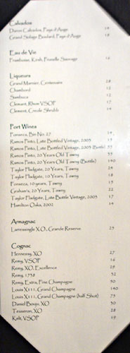Tradition by Pascal Dessert Wine List