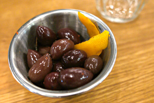 Warm marinated olives