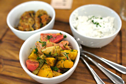 Beet and butterball potato salad + Tzatziki + Ikra