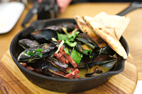 Wood-fired mussels