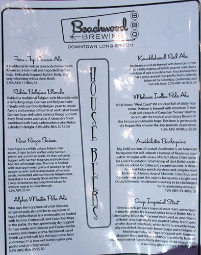 Beachwood Brewing & BBQ House Beers