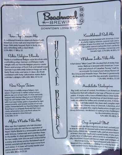 Beachwood Brewing & BBQ House Beers