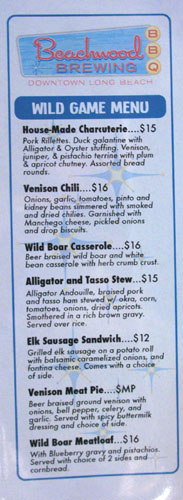 Beachwood Brewing & BBQ Wild Game Menu