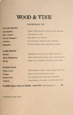 Wood & Vine Cocktail List